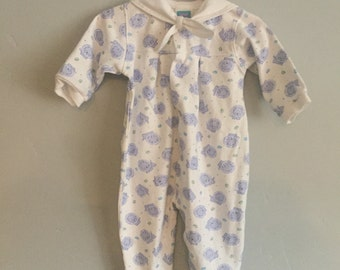1990s Little Me Infant Boys Lion Print Footed Pajamas with Sailor Collar, 9 Months
