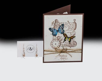 Time Flies Thinking of You Card and Earrings Gift