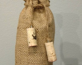 Jute wine gift bag UPCYCLED coffee bean sack with cork tassels