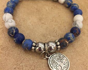 Diffuser Bracelet :  Blue & White Diffuser, Aromatherapy , Lava  Bead , Essential Oil Bracelet