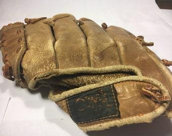 Vintage Olympia Baseball Glove Left Hand Throw- Leather Olympia Glove- V-Hinge Professional Deep Scoop Basket