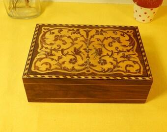 Vintage Italian Wood Box, Wooden Dresser Box, Brown Wooden Trinket Box w/Lid, Decorative Birds & Flowers Box, Wood Vanity Box,Cool Old Box,