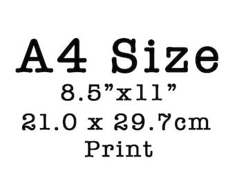 Any Art Print as A4 Size, Wall Art, Wall Decor, Black and White Art, Entryway decor 8x11.5, office decor