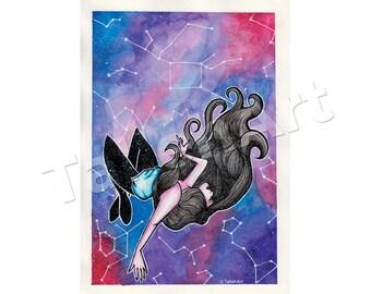 Galaxy Float Watercolour Print - A4 A6