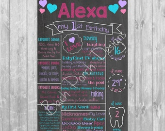 Pink and Purple First Birthday Chalkboard Poster - Digital