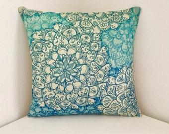 Cushion Cover, Floral Print Cushion, Blue Boho Pillow Cover