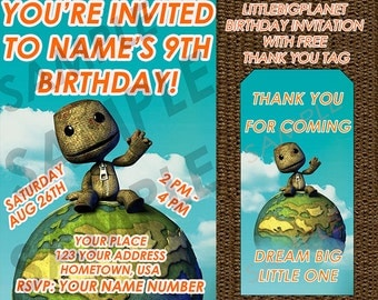 Little Big Planet Birthday Invitation with FREE Thank You Tags