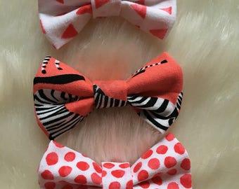 Zebra Baby Bow Bundle. Nylon Headband. 100% Cotton Fabric. Handmade.