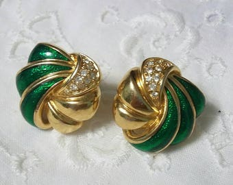 RESERVEDMSJSwarovski green and gold post earrings
