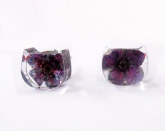 Flowered earrings cat plum - nature jewel resin flowered