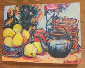 """Acrylic Painting on Canvas, Still life -  """"The Chinese Teapot"""""""