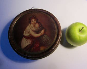 Vintage Round 1930's RownTree Sweets Advertising Tin, York. Depicting a Mother and Child - Litho print.