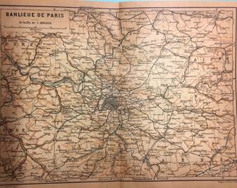 Vintage Map of Paris - Suburbs of Paris