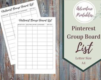 Pinterest Group Board List Printable Form, Small Business Form, Marketing Form, Social Media Management Planner