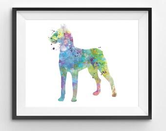 Colorful Dog Watercolor Print, Animal Print, Dog Digital Print, Abstract Dog Print, Dog Art, Dog Print, Living Room Decor, Modern Kids Art