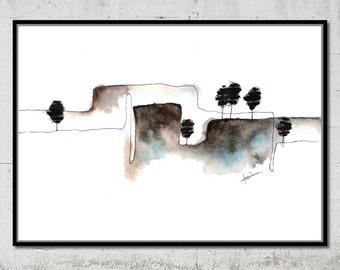 Watercolour Landscape Print Instant Download