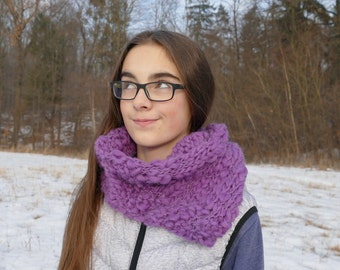 Asymmetric chunky cowl. Wool and alpaca scarf. Purple neck warmer.