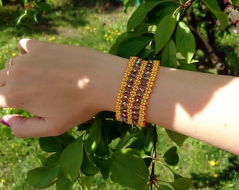 Yellow and orange ladder bracelet / Cuff bracelet / Gift for her