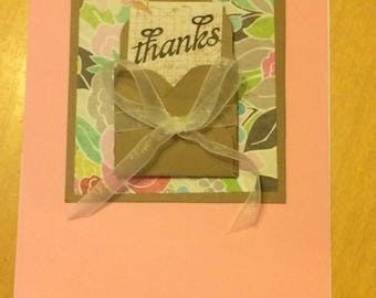 Thank you card, handmade card,card for her