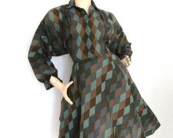 Vintage 60s does 50s Mad Men Pin UP Swing Tea Dress Green Check Harlequinn Size M