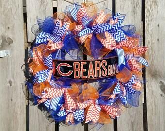 Chicago Bears Wreath, Chicago Bears Mancave, Chicago Bears, Chicago Bears Home Decor, Chicago Bears Decor, Wreath, Football, Bears Decor