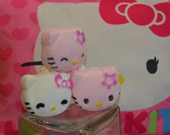 Hello Kitty Strawberry (pink) & Cotton Candy (white) ~ Bath Bomb for Kids