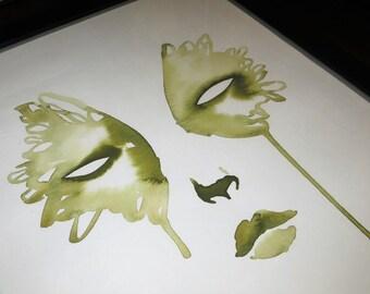 Watercolour Surreal Face Painting, Original Watercolour Illustration, Contemporary Artwork