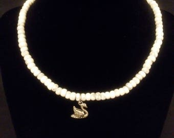Howlite beaded Necklace with Silver Swan
