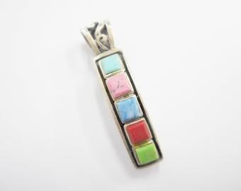 Sterling Pendant, Gemstone Pendant, Silver Pendant, Southwestern, Genuine Sterling Silver Southwestern Multi Stone Pendant #2397