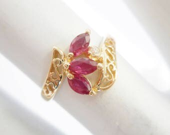 Ruby Ring, Vintage Ruby Ring, Ruby And Diamond, Gold Ruby Ring, 14k Yellow Gold Marquise Ruby Diamond Filigree Openwork Ring Sz 5 #2769