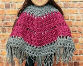 "Crochet 18 inch Doll Boho Poncho set / Pink Grey / American Girl Accessories / 18"" Doll  / Photo Prop / Crochet Boho Poncho"