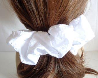 White  cotton   Scrunchie   chouchou ,  cotton hair tie , Hair Accessories  , Handmade by  ScrunchiesCo .