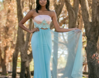 Dusty aqua and blush pink evening gown