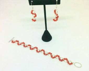 Handmade Bracelet and Dangle Earrings Jewelry Set with Red Seed Beads and Silver Rings - Perfect Valentine's Day Gift for her