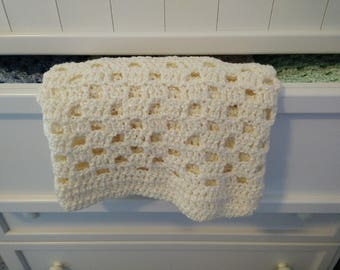 Checkerboard Lace Crochet Baby Blanket - Cream