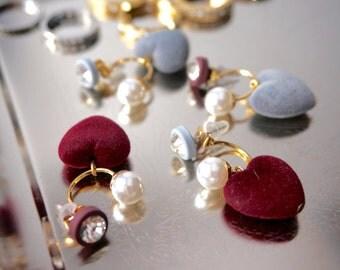 Heart earring jacket/ Velvet Earring/ Pearl Earring/ Velvet  earrings/ Velutum ear jacket/ Screw back earring