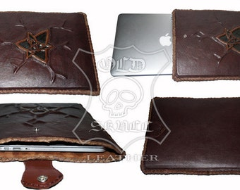 MacBooktasche 13 inch leather with 3D image