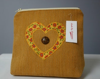 SALE - Mustard Make Up Bag with Heart - SALE