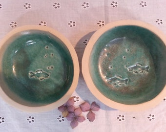 Ceramic feeding bowls for cats dogs 1 pair