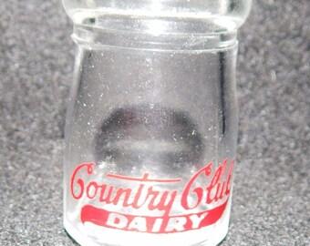 Vintage COUNTRY CLUB  DAIRY Glass Individual Milk Bottle Creamer Kansas City Mo  1909 - 1950