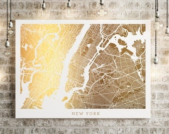 New York Map Gold Foil Art, Real Gold Foil Wall Decor Print on 65lb cardstock, New York United States of America