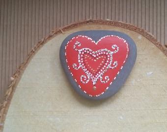 Beautiful Heart Painted Sea Stone