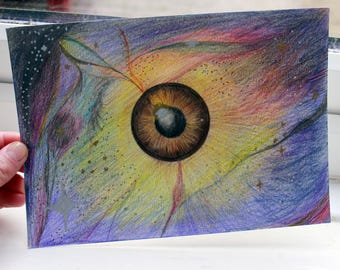 You're Out of this World - surreal eye crayon drawing art