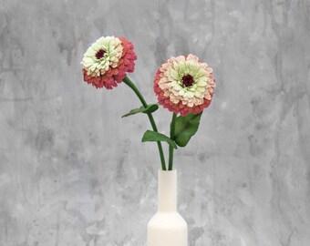 Single flower, Zinnia flowers made of crepe paper