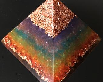 Rainbow orgone pyramid-quartz crystal, quartz sand, copper crumbs