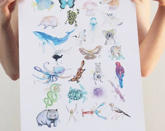 Australian Animal Alphabet print by Hannah WETZLER
