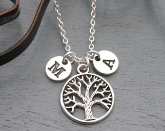 Family Tree Necklace, Personalized Family Tree Necklace, 1 2 Initial Necklace, Gifts for Grandmothers, Grandma Necklace, Custom, Silver