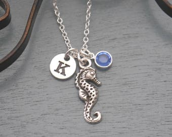 Seahorse Necklace, Personalized Seahorse Necklace, Silver Seahorse Necklace, Initial Necklace, Seahorse Jewelry, Sea horse Necklace