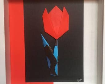 Origami Art - Rosie red tulip