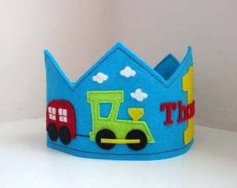 Train Crown, Birthday Crown, Wool Felt Crown, Boy Crown, First Birthday, Personalized, Velcro Closure, Photo Prop, Smash Cake